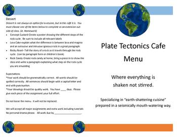 Plate Tectonics Menu Project