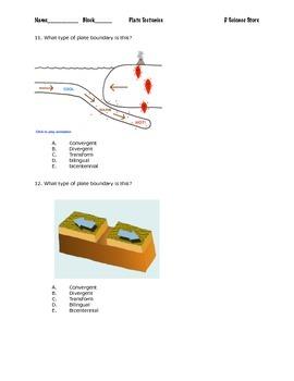 Plate Tectonics Pre/Post Test