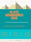 Plate Tectonics Quiz: Types of Plate Boundaries (DIGITAL)