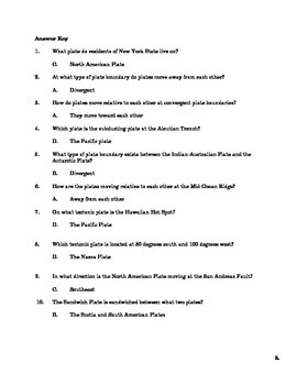 Plate Tectonics Quiz and Answer Key