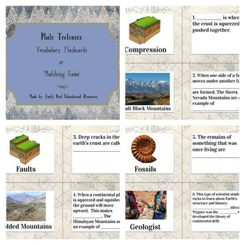 Plate Tectonics Review: Flashcards, Vocabulary Cards, or Matching Game