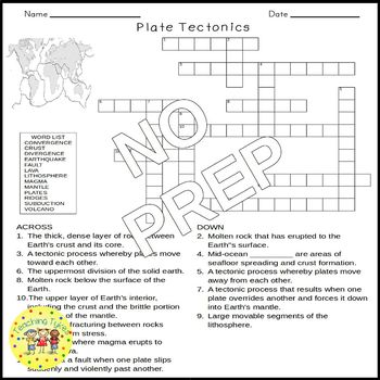 plate tectonics crossword puzzle by teaching tykes tpt. Black Bedroom Furniture Sets. Home Design Ideas
