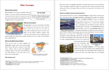Plate Tectonics - Science Reading Article - Grades 5-7