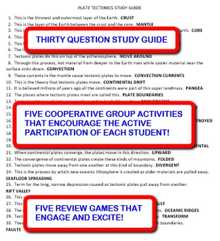 Plate Tectonics:  Study Guide and Activity Pack