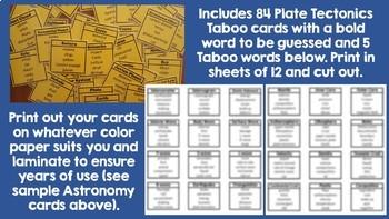 Plate Tectonics Taboo Cards
