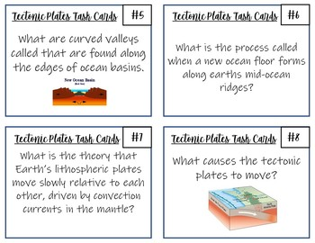 Plate Tectonics Task Cards- 32 Cards with Answer Key