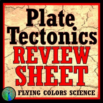 Plate Tectonics Review Worksheet (middle school) NGSS MS-ESS2-3