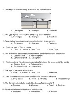 Plate Tectonics Test and Study Guide