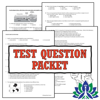 Plate Tectonics Test Assessment Middle School Earth Science NGSS MS-ESS2-3