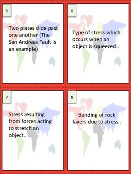 Plate Tectonics Vocabulary Study Buddy Cards