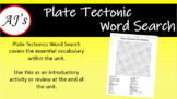 Plate Tectonics Vocabulary Word Search
