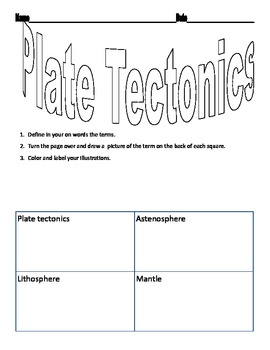 plate tectonics vocabulary worksheet by jennifer jordan tpt. Black Bedroom Furniture Sets. Home Design Ideas