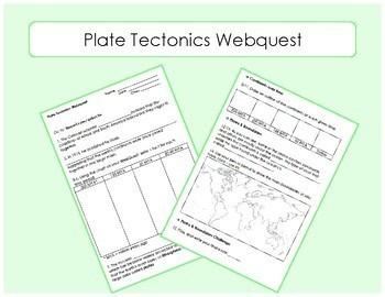 Plate Tectonics WebQuest / Interactive Website Worksheet