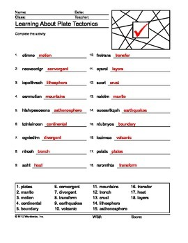 Plate Tectonics Word Scramble Printable