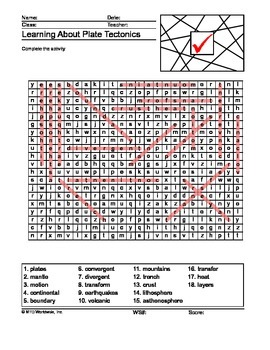 Plate Tectonics Word Search Printable