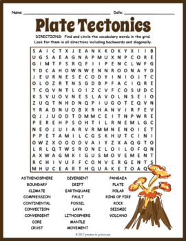 plate tectonics word search puzzle by puzzles to print tpt. Black Bedroom Furniture Sets. Home Design Ideas