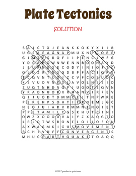Plate Tectonics Word Search Puzzle
