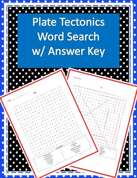 Plate Tectonics Word Search w/ Answer Key