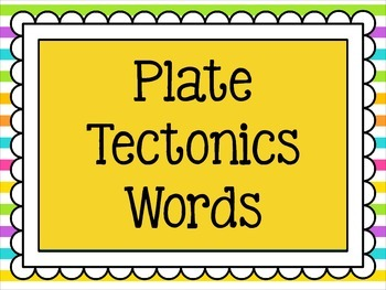 Plate Tectonics Word Wall Words - 26 Words in All!