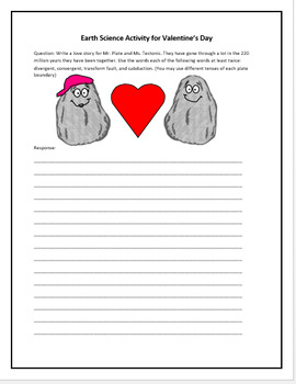 Plate Tectonic Writing Prompt -Literacy in Science- Valentine's Day Science FREE