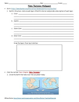 Plate Tectonics and Boundaries Webquest