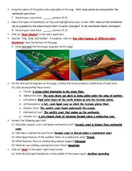 Plate Tectonics and Boundaries Webquest Key