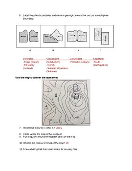 Plate Tectonics and Contour Map Review