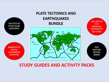 Plate Tectonics and Earthquakes Bundle: Study Guide/Activity Packs