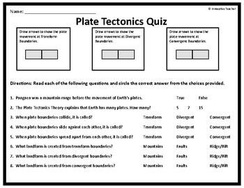 Plate Tectonics Worksheet