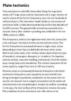 Plate tectonics Handout