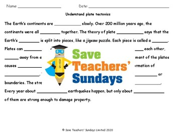 Plate Tectonics and Earthquakes Lesson Plan (with video links) and Worksheet