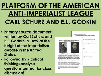 """Platform of the Anti-Imperialist League"" - Carl Schurz -"