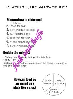 Plating & Saucing Worksheets, Quiz, Google Docs Quiz