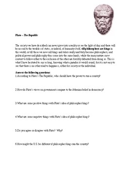 Plato Ancient Greece Primary Source worksheet