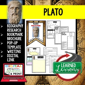 Plato Biography Research, Bookmark Brochure, Pop-Up Writing Google