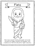 Plato Coloring Page Craft or Poster with Mini Biography, P