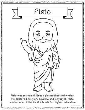 Plato Coloring Page Activity or Poster with Mini Biography