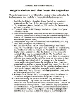 Plato de Comida - Oruga Hambrienta cuentos - leer, escribir