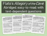 Plato's Allegory of the Cave: Abridged, easy-to-read, w text-dependent questions