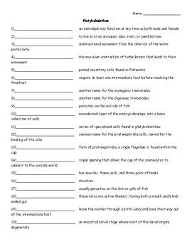 Platyhelminthes Vocab. Quiz or Worksheet for Invertebrate Biology