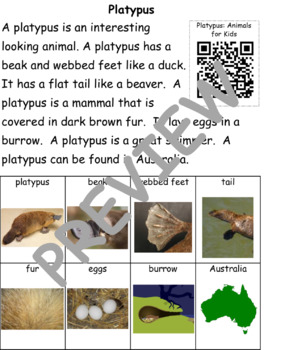 Platypus: Informational Text and Writing Activity