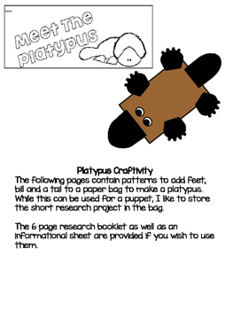 Platypus Research Project and Craftivity