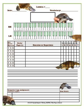 Platypus Themed Piano Lessons Assignment Sheet