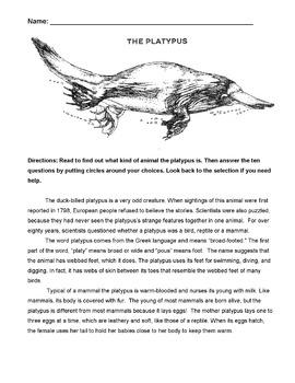 Animal Platypus Wksht Nonfiction Reading Science +10 Multi
