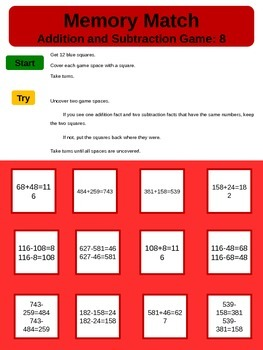 Play A Game Memory Match Addition and Subtraction 10Games