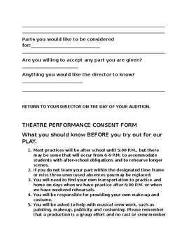 Play Audition and Consent Form