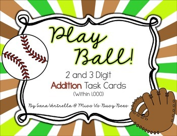Play Ball! Addition Task Cards