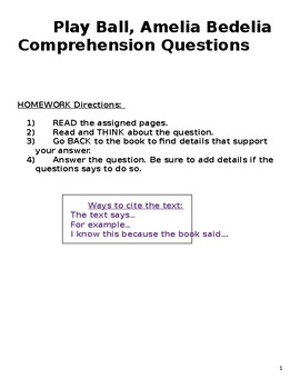 Play Ball Amelia Bedelia Comprehension Questions