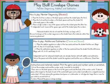 Play Ball! Envelope Games