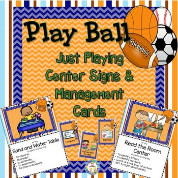 Play Ball Just Playing Center Signs and Editable Management Cards